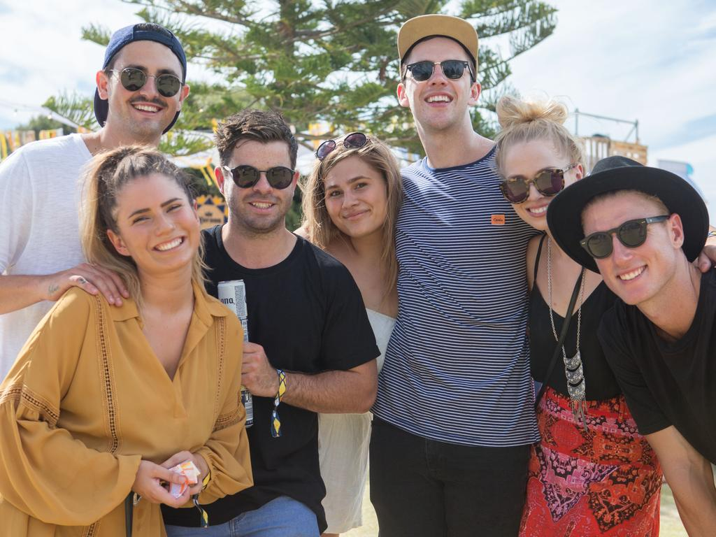 Corey Deleo, Melissa Simpson, Justin Williams, Mackenzie Obrian, Woody Whitelaw, and Courtney Read at the inaugural Corona SunSets Festival. Picture: Supplied