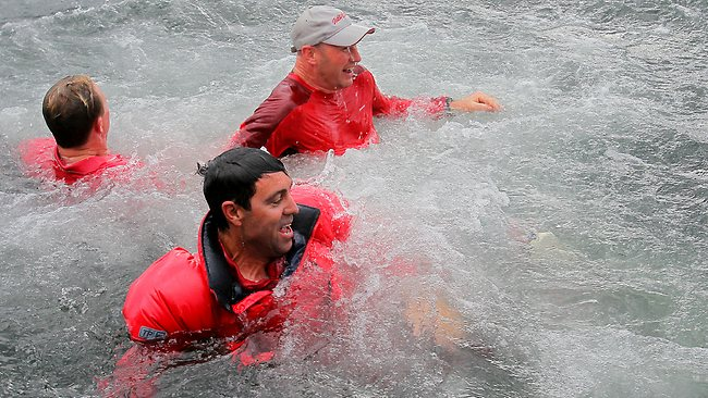 Skipper Mark Richards got thrown into the water. Picture: Richard Jupe.