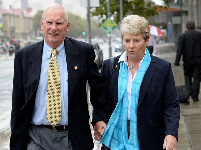 Brian and Helen Gitsham, the parents of a former St Ann's student who was abused at the school, outside the commission. Picture: Greg Higgs