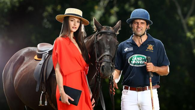 Brisbane polo player Beau Skerrett with his horse Indy and model Katie Kugis.