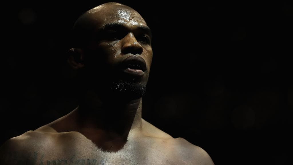 Jon Jones looks on prior to his fight against Daniel Cormier at UFC 214.
