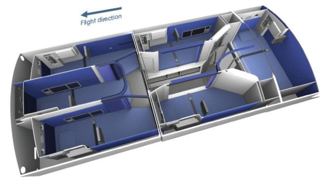 The crew rest area layout on an Airbus A350-XWB plane. Picture: Airbus