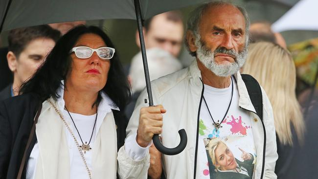 The parents of MH17 victim Fatima Dyczynski, George Dyczynski and Angela Rudhart-Dyczynski, attend the memorial service. Picture: Getty Images