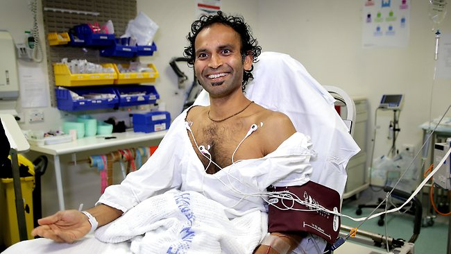 Bishan Rajapakse in St Vincents Hospital after he was knocked unconscious by a whale while surfing at South Bondi Beach, Sydney. Picture: Gregg Porteous