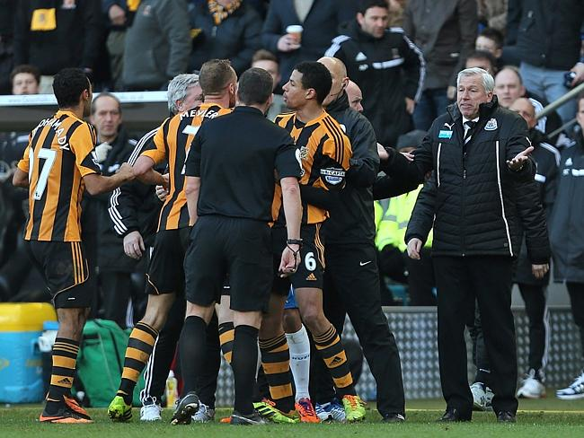 The scene after Pardew and Meyler's coming together.