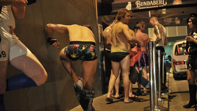 Male partygoers at the 2012 Hookers Ball were made to remove their trousers before entry.