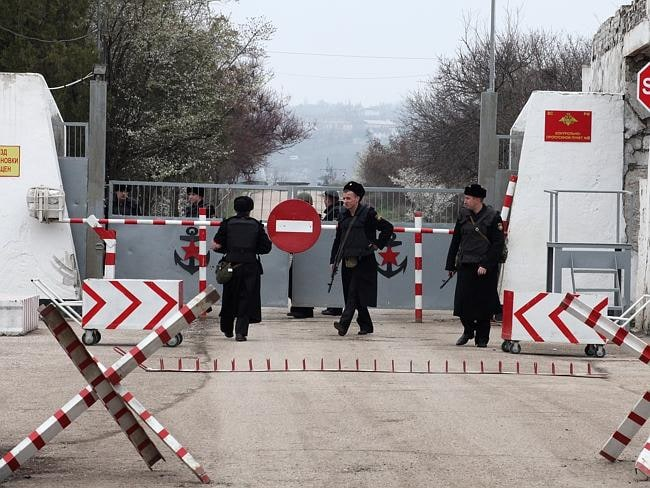 Fortified ... the entrance of the Russian Naval Base near Sebastopol, Crimea. Picture: Ella Pellegrini