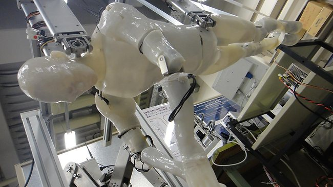 The swumanoid robot gets ready to swim a few laps in a Japan laboratory. (Pic:DigInfo News)