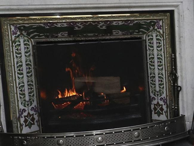 The log fire in the drawing room, at Balmoral Castle in Scotland. Picture: AP