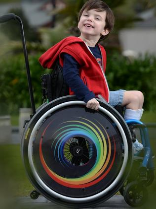 Five-year-old Cooper just wants to be like his big brother. Picture: Naomi Jellicoe