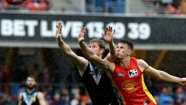 Man mountain ... Port ruckman Matthew Lobbe had a big impact against the Suns. Picture: David Clark
