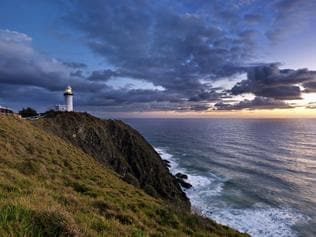 BYRON BAY .. for Angela Saurine story .. Byron Bay lighthouse, Australia, at sunrise. Pacific Ocean from most easterly point of Australia.