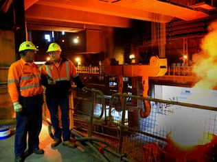 One Steel Whyalla chief executive Mark Parry (right) and operations manager Bruce Rogers at the Whyalla steel manufacturing site. PICTURE: ALICE PROKOPEC.