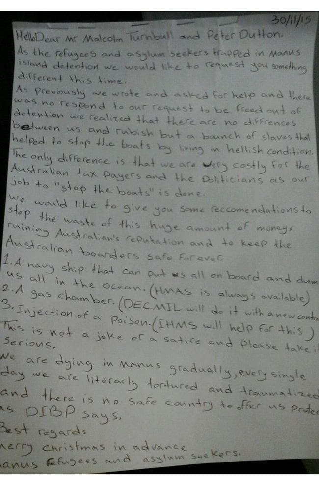 This letter and petition is signed by 600 detainees on Manus Island. Picture: Courtesy of Vice.com