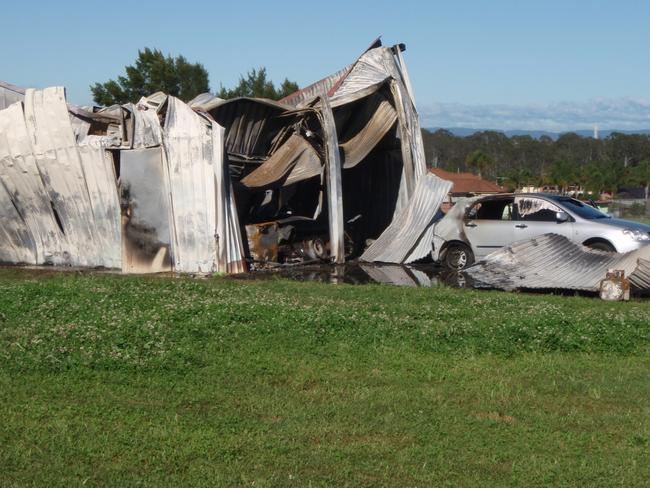 The charred remains of the Kemps Creek drug lab in 2010.