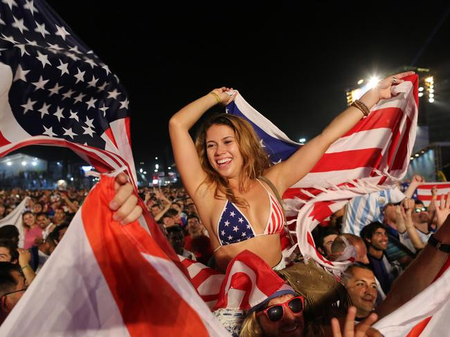 Here's an American fan awe like in a swimming costume.