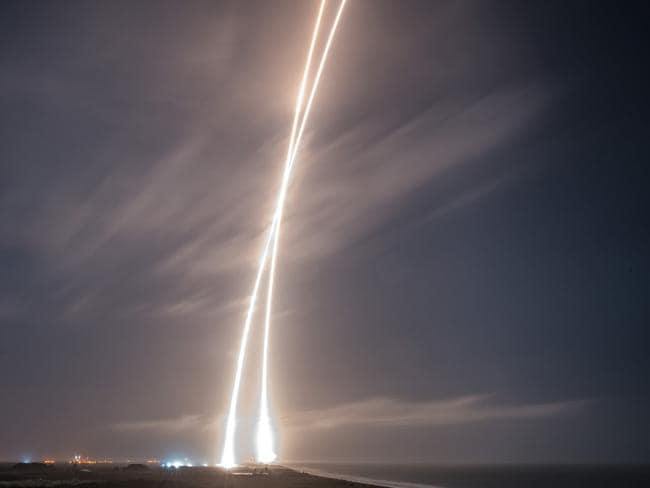 Pioneers ... SpaceX is striving to revolutionise the rocket industry which loses many millions of dollars in jettisoned machinery and sophisticated rocket components after each launch. Picture: AFP/SpaceX