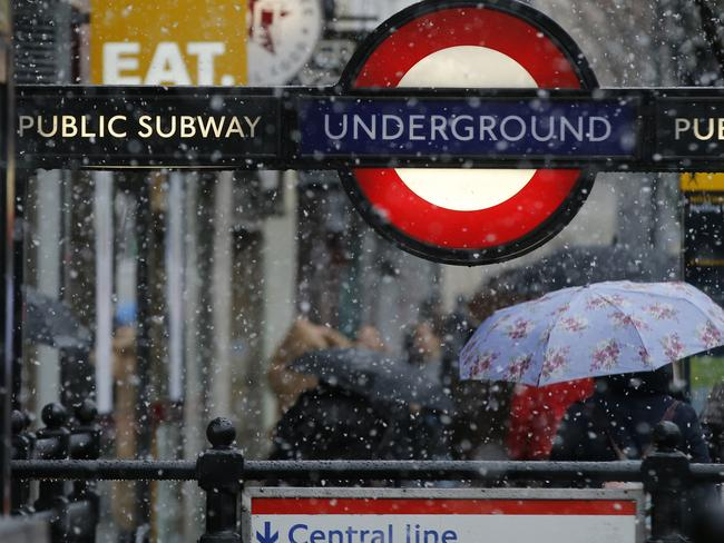 Snow at Notting Hill station. Picture: AP