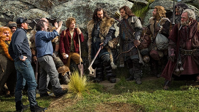 Behind the scenes shooting The Hobbit: An Unexpected Journey. Thorin is in the centre. Picture: Supplied