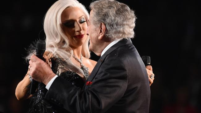 Lady Gaga and Tony Bennett raise some heat at the Grammys. Picture: AP
