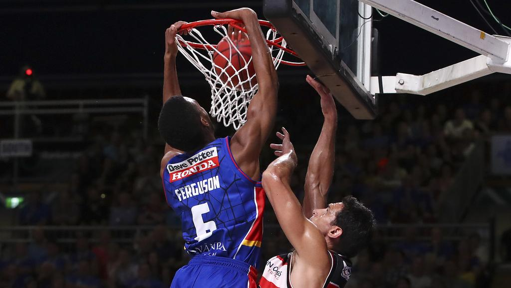 Terrance Ferguson slams down a dunk against Illawarra. Picture: Sarah Reed