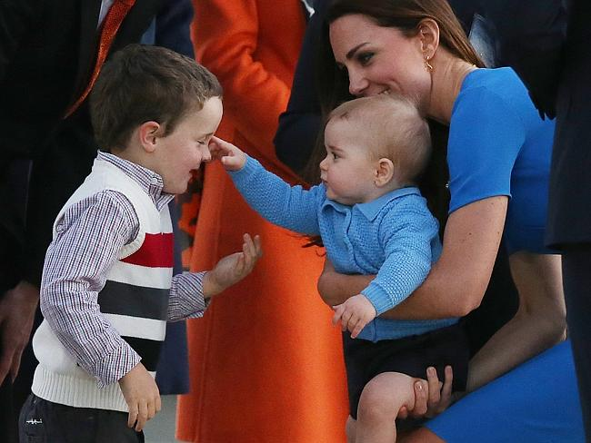Prince George makes friends with Leader of the Opposition Andrew Leigh's son Theodore.