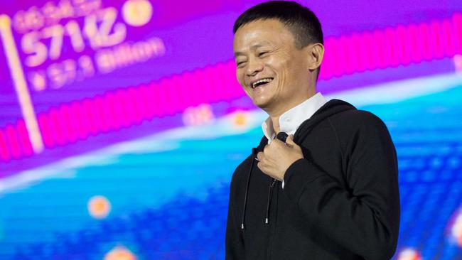 Alibaba chairman Jack Ma speaks on stage in 2016. Picture: AFP/STR/China OUT