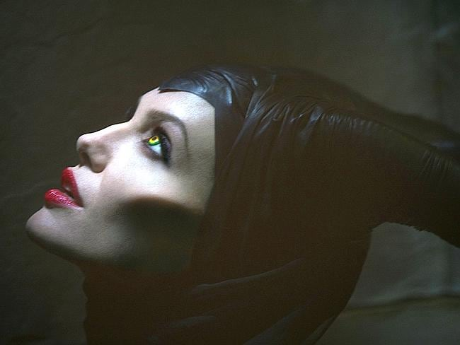 Evil look...Angelina Jolie says her own son Pax ran away crying the first time he saw her dressed as a the evil witch in Melficent, a new take on Snow White. Picture: Disney
