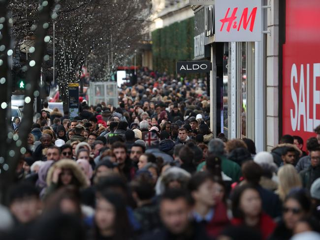 Shoppers form a large crowd on Oxford Street in central London. Picture: AFP