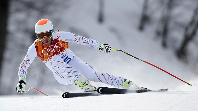 Bode Miller in action during the men's downhill.