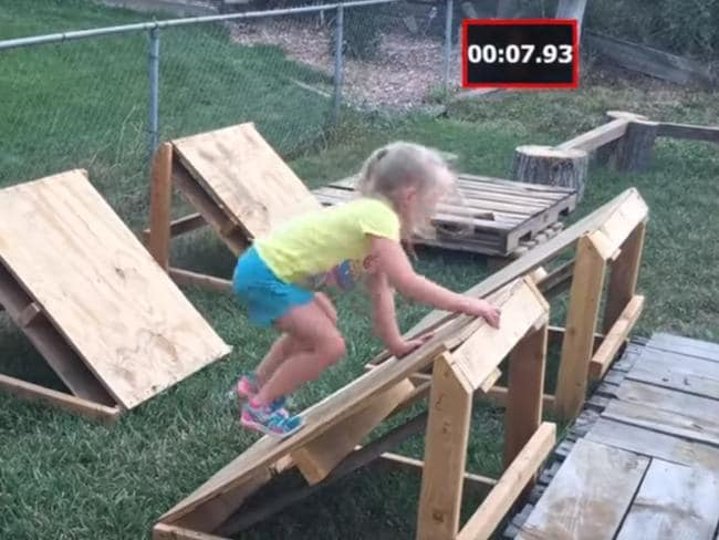 Lylah tackling the quintuple steps. Picture: YouTube