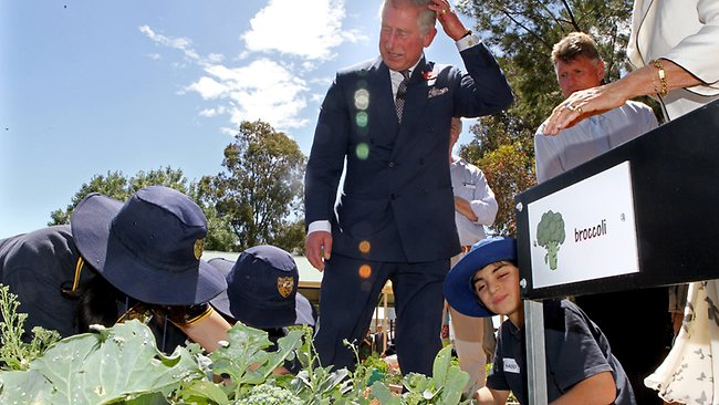 The Prince visits Kilkenny Primary School students in their vegetable garden. Picture: Calum Robertson