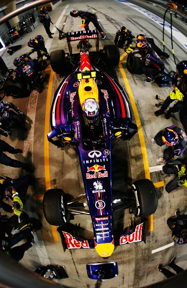 Daniel Ricciardo drives in for a pitstop.
