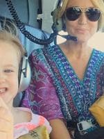Radio personality Jackie O enjoys a helicopter ride with daughter Kitty in Fiji. Picture: Instagram