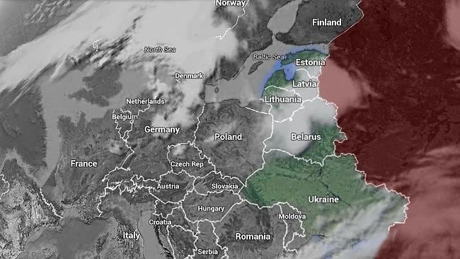 The Bear's reach ... Ukraine, Belarus, Lithuania, Latvia and Estonia in relation to Russia and Europe.