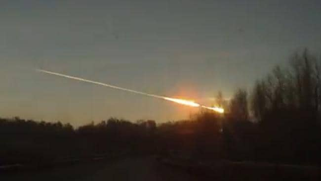 The meteor flies over Russia near the small city of Chelyabinsk in February this year
