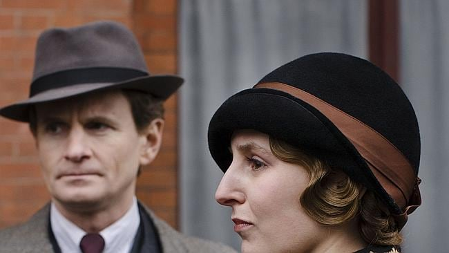 Charles Edwards as Michael Gregson and Laura Carmichael as Lady Edith in a scene from season four of the TV series, Downton Abbey. Picture: AP