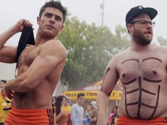 Not even Seth Rogen's drawn on pecs can detract from Zac's beauty.