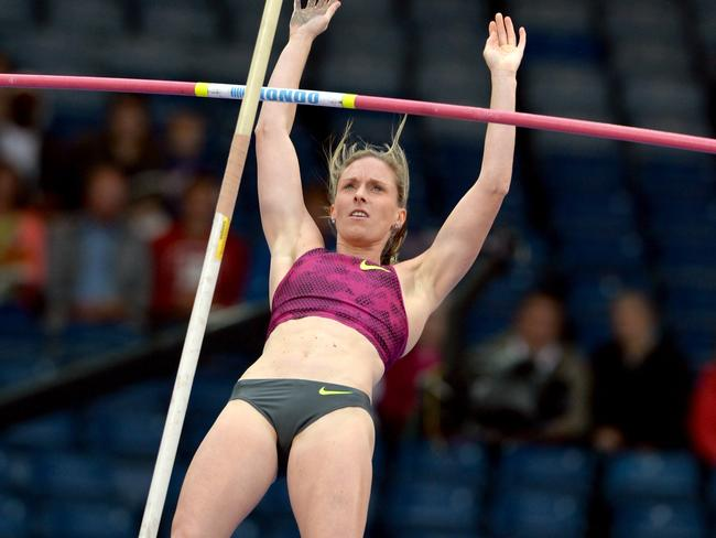 Alana Boyd competes in the women's pole vault on the second day of the IAAF Diamond League athletics meeting in Glasgow. Picture: Paul Ellis