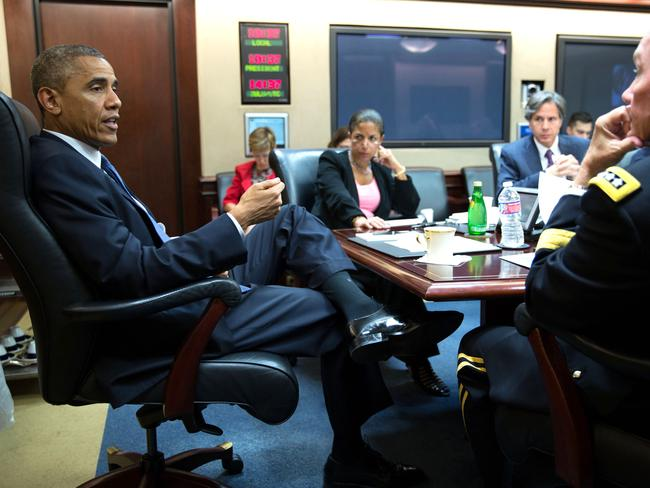 Vigilant ... US President Barack Obama meets with the National Security Council in the Situation Room of the White House, Auguse 7, 2014. Picture: Pete Souza