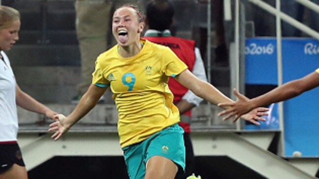 Caitlin Foord celebrates a goal against Germany at the Rio Olympics.
