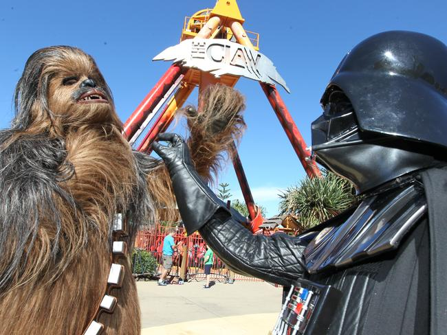 Darth Vader and Chewbacca took our advice and headed to Dreamworld. Picture: Mike Batterham
