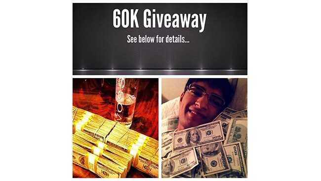 """""""Lavish is giving away 60K all in cash. That's more than yo life's earnings. So begin begging peasants."""""""