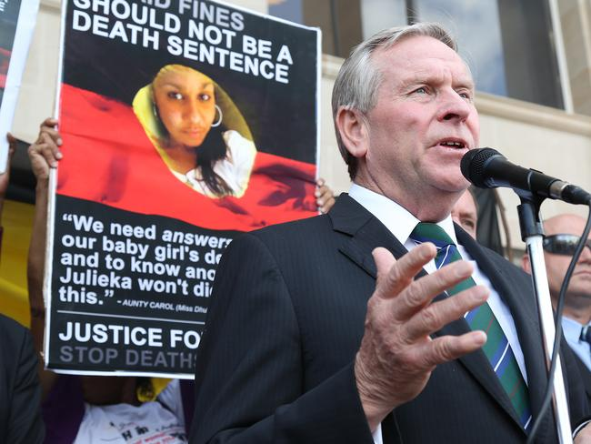 Under pressure: WA Premier Colin Barnett addresses protesters. Picture: Bohdan Warchomij