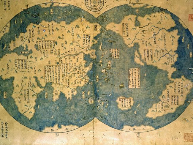 This world map is believed by some to have been compiled by Zheng He, China's most famous navigator. Over 28 years, he travelled more than 50,000km and visited over 30 countries. Picture: Getty