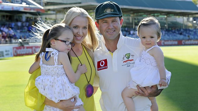 Ricky Ponting with wife Rianna and their two children after his final Test at the WACA. Picture: Daniel Wilkins.