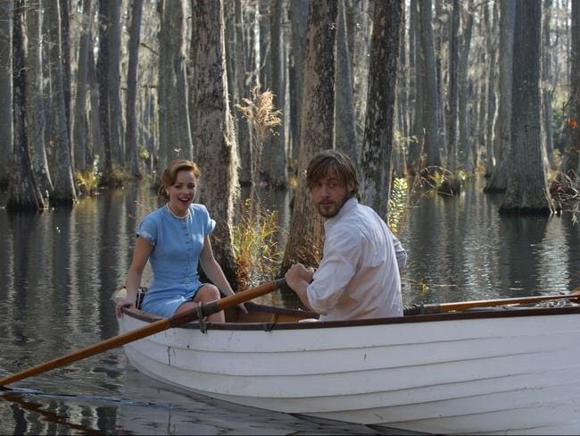 Classic romance ... Rachel McAdams and Ryan Gosling in the romantic row boat scene in 2004 weepie The Notebook. Picture: Supplied