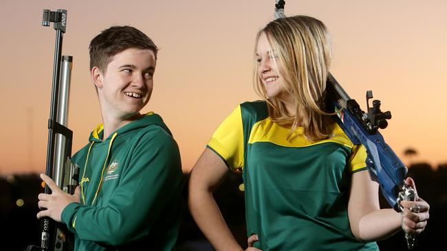 Jack Rossiter and Emma Adams are teenage shooters from Reynella Smallbore and Air Rifle Club. Picture: Calum Robertson