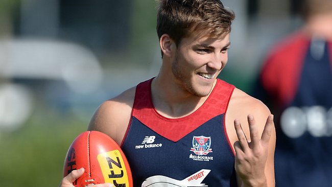 Jack Viney enjoys his first AFL pre-season. Picture: Wayne Ludbey