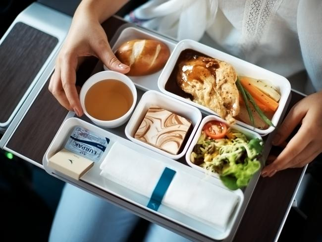 Lay off the salt, airline food already caters for your diminished tastebuds. Picture: Cathay Pacific